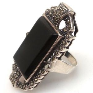 Vintage Sterling Silver, Marcasite, and onyx ring